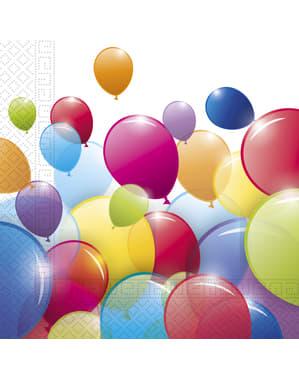 20 Serviettes en papier ballons arc-en-ciel