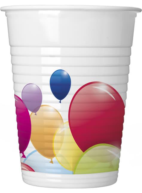 8 vasos de plástico de globos arcoíris