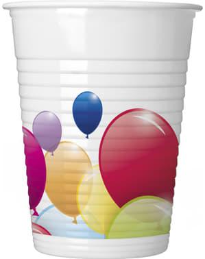 Zestaw 8 kubków plastikowych z tęczowymi balonami