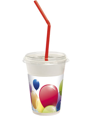 8 Colourful Balloons cups with lid and straws