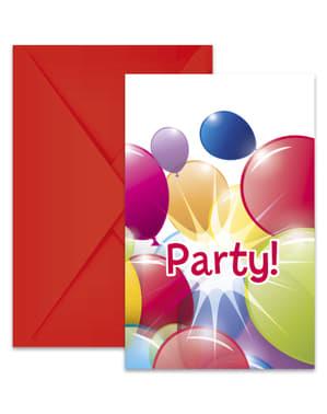 6 Einladungskarten Set mit Regenbogen-Luftballon Motiv