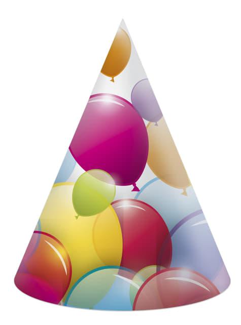 6 gorritos variados de cartón de globos arcoíris