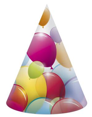 Zestaw 6 różnych czapeczek papierowych z tęczowymi balonami