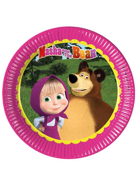 Set of 8 Masha and The Bear paper plates