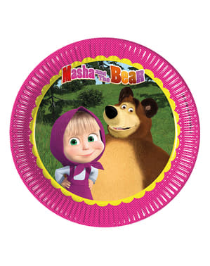 8 Masha and The Bear papieren borden (23 cm)