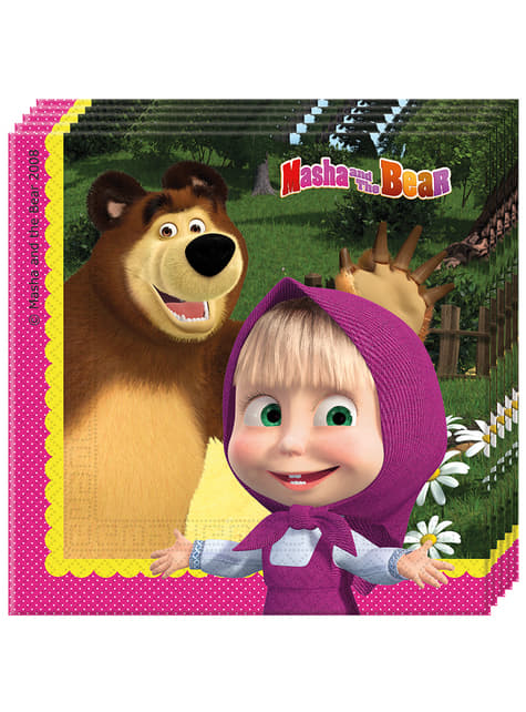 Conjunto de 20 guardanapos de Masha e o Urso