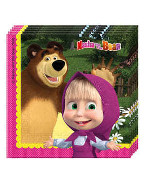 Sæt af 20 Masha og bjørnen servietter