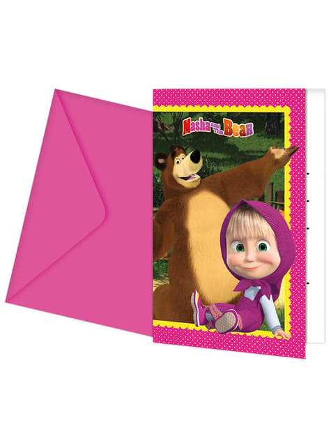 Set of 6 Masha and The Bear invitations