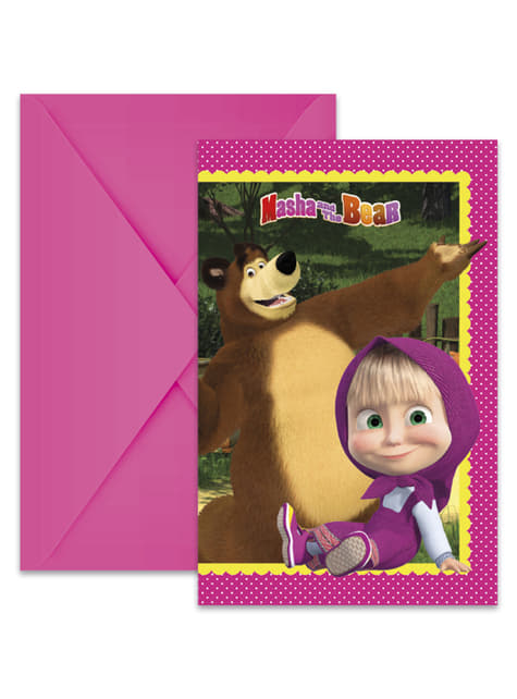 Sæt af 6 Masha og bjørnen invitationer