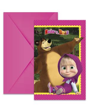 6 Einladungskarten Set - Mascha und der Bär