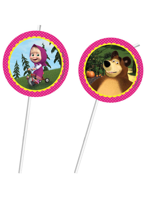 Set van 6 Masha and The Bear rietjes