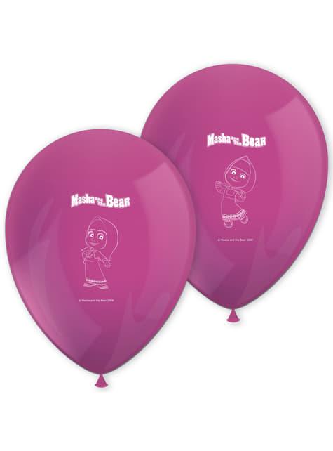 Set de 8 globos de látex de Masha y el Oso