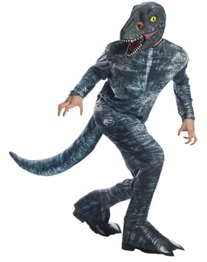 Dinosaurie Maskeraddräkt Velociraptor Blå för vuxen - Jurassic World