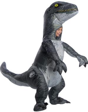 Oppblåsbar Blå Velociraptor Dinosaur Kostyme til Barn - Jurassic World