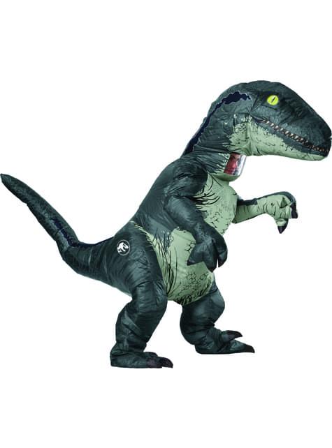 Fato insuflável de Velociraptor Blue deluxe para adulto - Jurassic World
