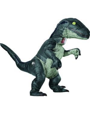 Oppblåsbar Blå Velociraptor Dinosaur Kostyme til Voksne - Jurassic World