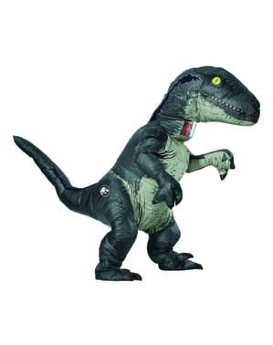 Dinosaurie Maskeraddräkt Velociraptor Blå uppblåsbar prestige för vuxen - Jurassic World