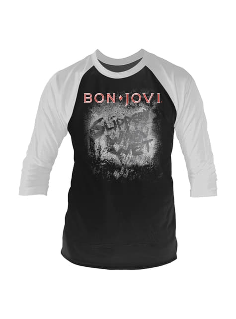 Bon Jovi Slippery When Wet Raglan T-Shirt voor mannen