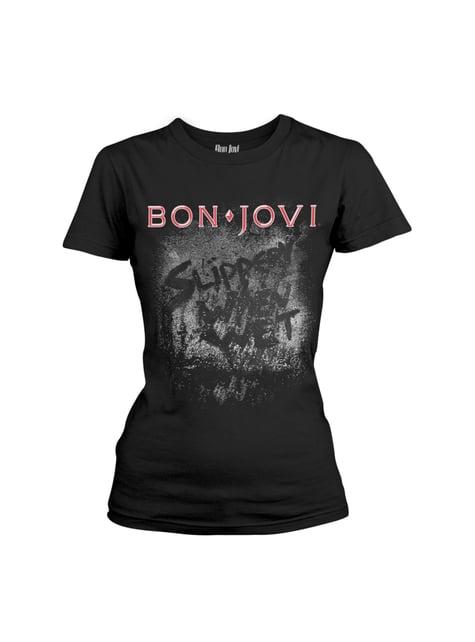 T-shirt Bon Jovi Slippery When Wet para mulher