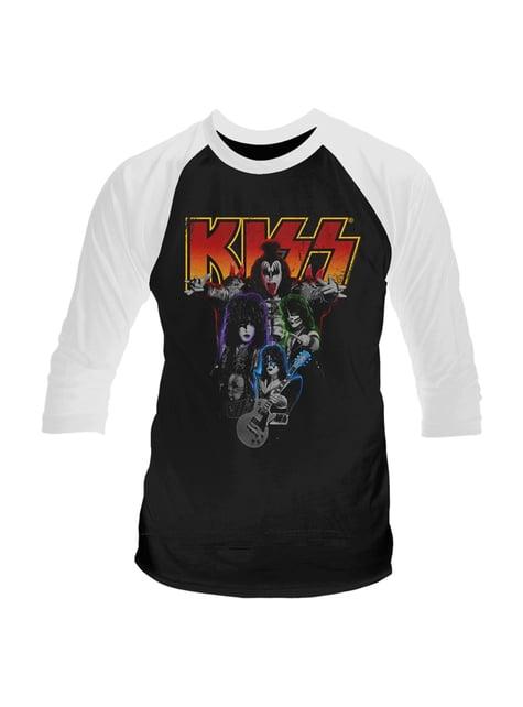 Kiss Neon Band Raglan T-Shirt for Men