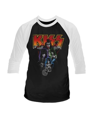 Kiss Neon Band Raglan T-Shirt for Men