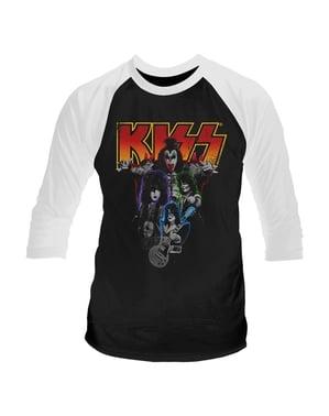 Kiss Neon Band Raglan T-Skjorte til Menn
