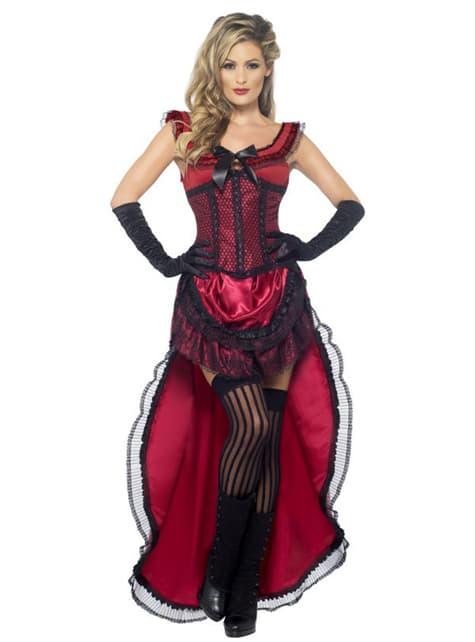 Bordell Dame Kostüm Deluxe Rot