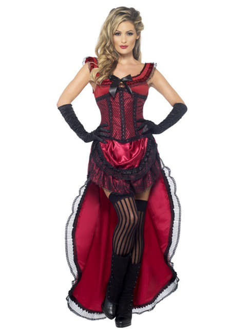 Deluxe Rød Saloon Dame Kostyme Voksen