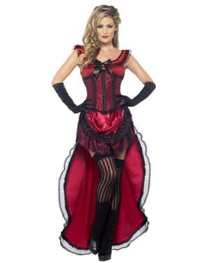 Strój dama z saloonu kankan czerwony damski