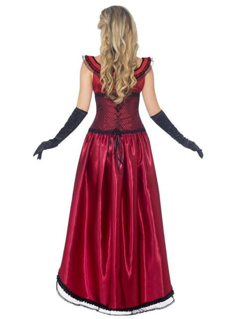 Червоний костюм дівчини із салуну для дорослих