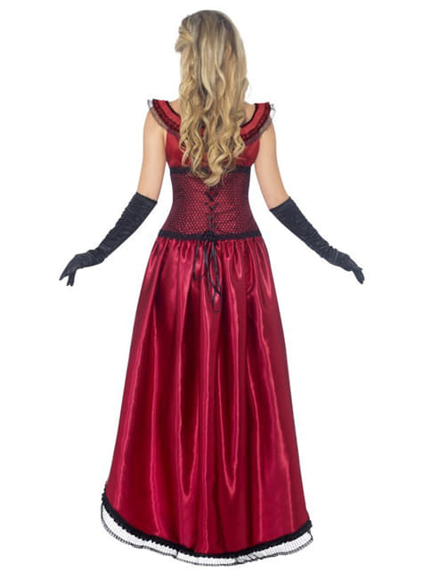 Disfraz de dama de burdel rojo Deluxe