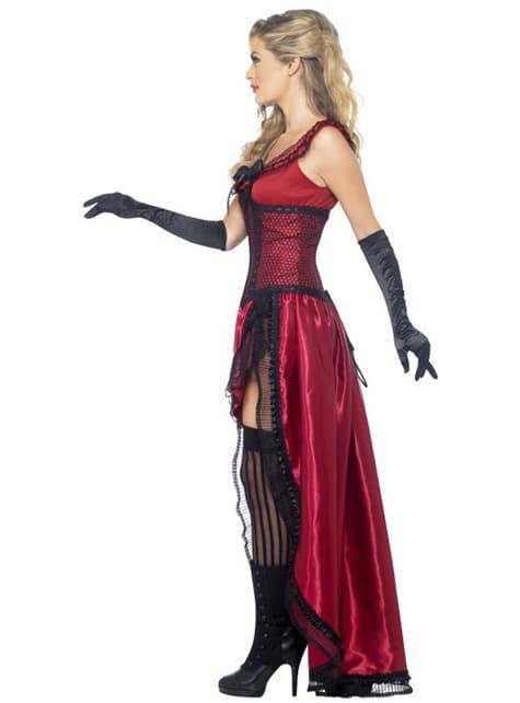 Disfraz de dama de burdel rojo Deluxe - original