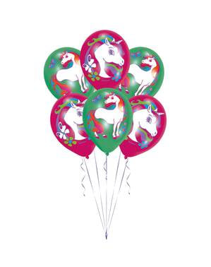 6 balões variados de látex de unicórnios infantil (27 cm) - Rainbow Unicorn