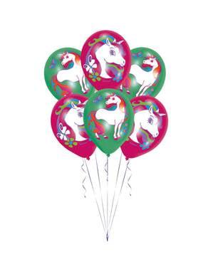 Sett med 6 varierte latex enhjørning ballonger til barn