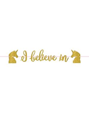 Upea kultainen taikayksisarvinen -banneri