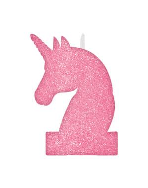 Egyszarvú fényes gyertya (8 x 13 cm) - Pretty Unicorn