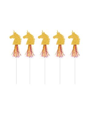 Набір із 6 декоративні зубочистки із золотими єдинорогами