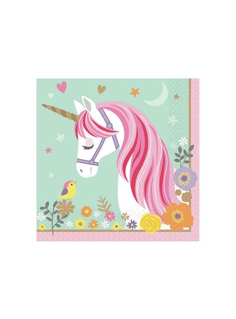 16 Serviettes en papier de princesse licorne