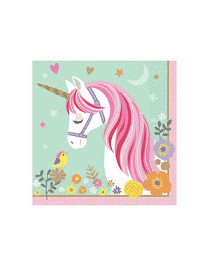 16 servilletas de unicornio (33x33cm) - Pretty Unicorn