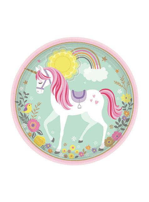 Set de 8 platos de princesa unicornio