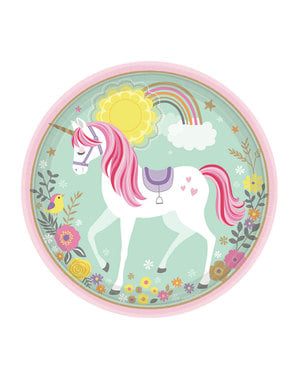 8 Princess Unicorn plates (23cm) - Pretty Unicorn