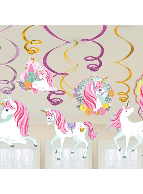 Kit de 12 decorações pingentes de princesa de unicórnio