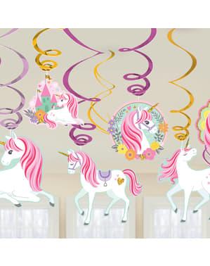 Kit 12 hängande dekorationer prinsessa enhörning