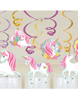 Kit de 12 decorações pingentes de princesa de unicórnio - Pretty Unicorn