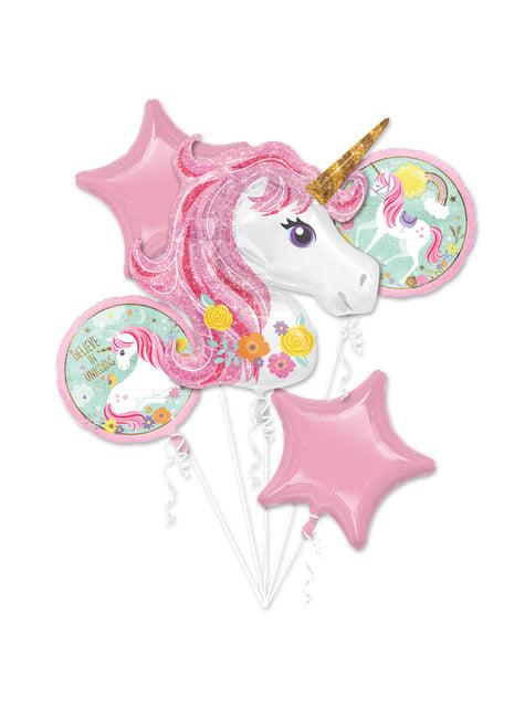 Bouquet de globos de foil de unicornio - Pretty Unicorn