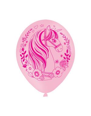 Sett med 6 rosa latex gull enhjørning ballonger