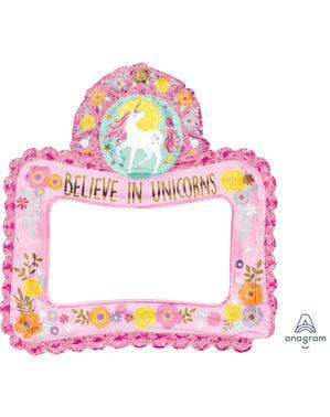 Cornice per Photocall gonfiabile da principessa unicorno - Pretty Unicorn