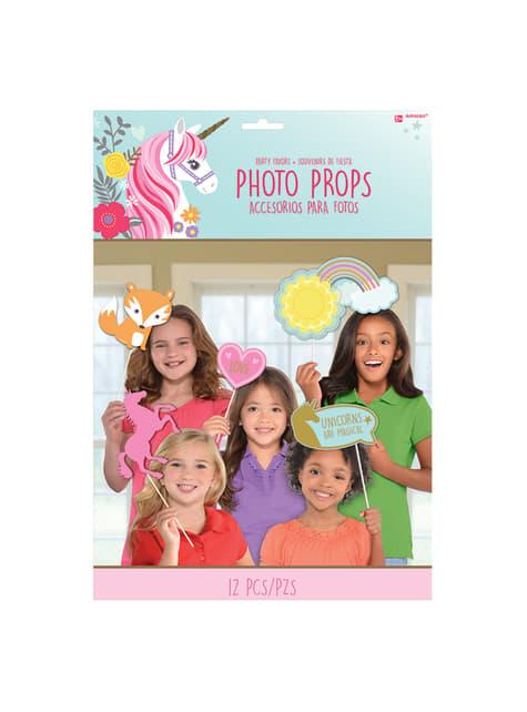 12-teiliges Einhorn Prinzessin Photocall Zubehörteile Set