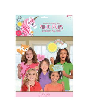 12 Prenses Unicorn photo booth aksesuarları