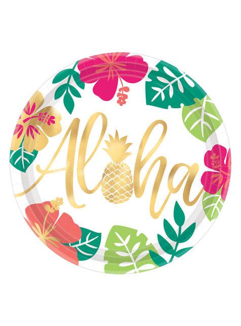 Set de 8 platos grandes aloha